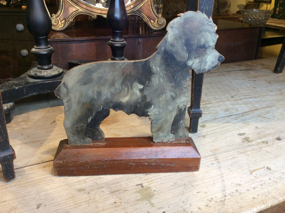 edwardian wooden painted dog door stopper