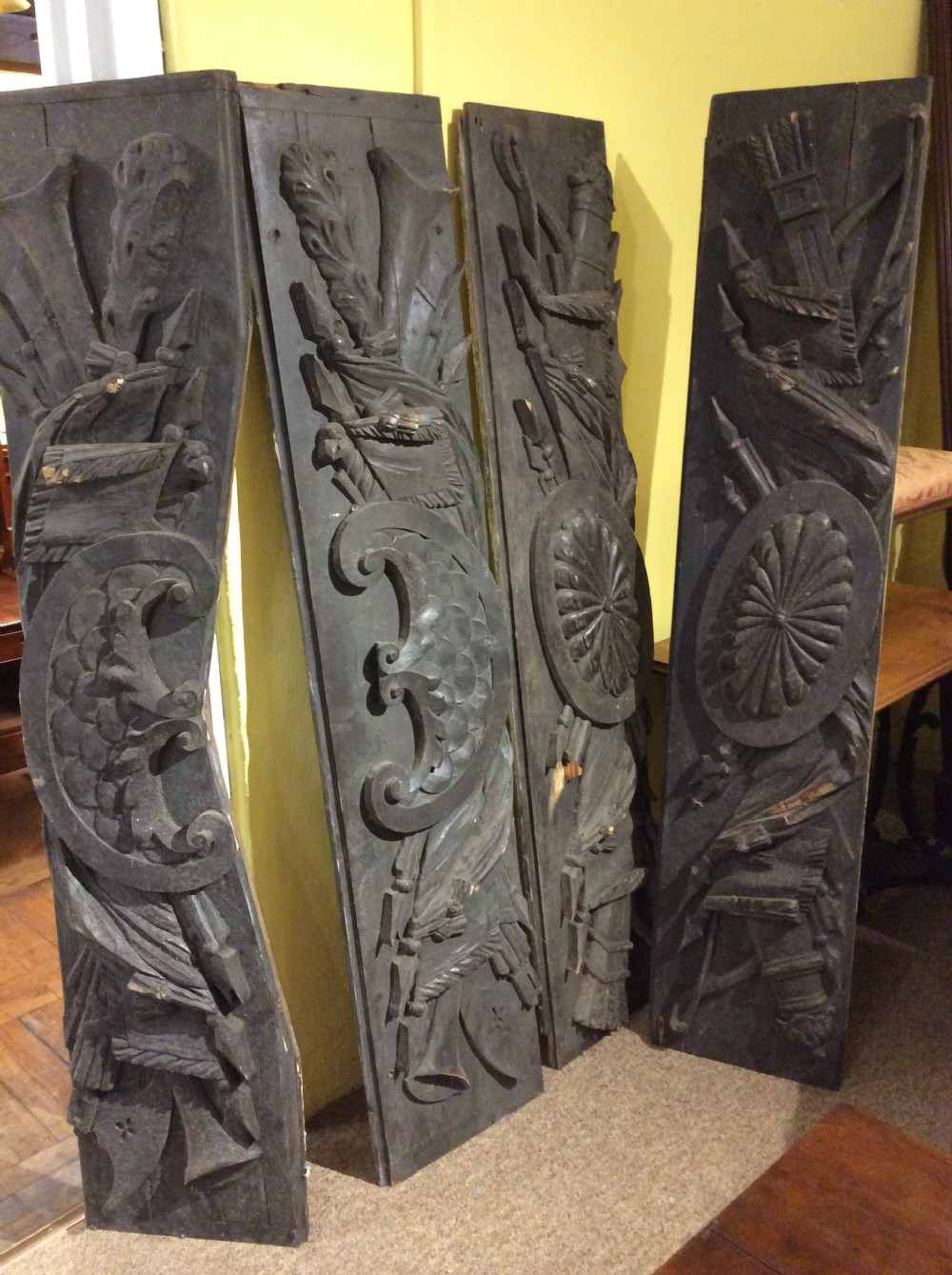 set of 4 19thc large pine carvings