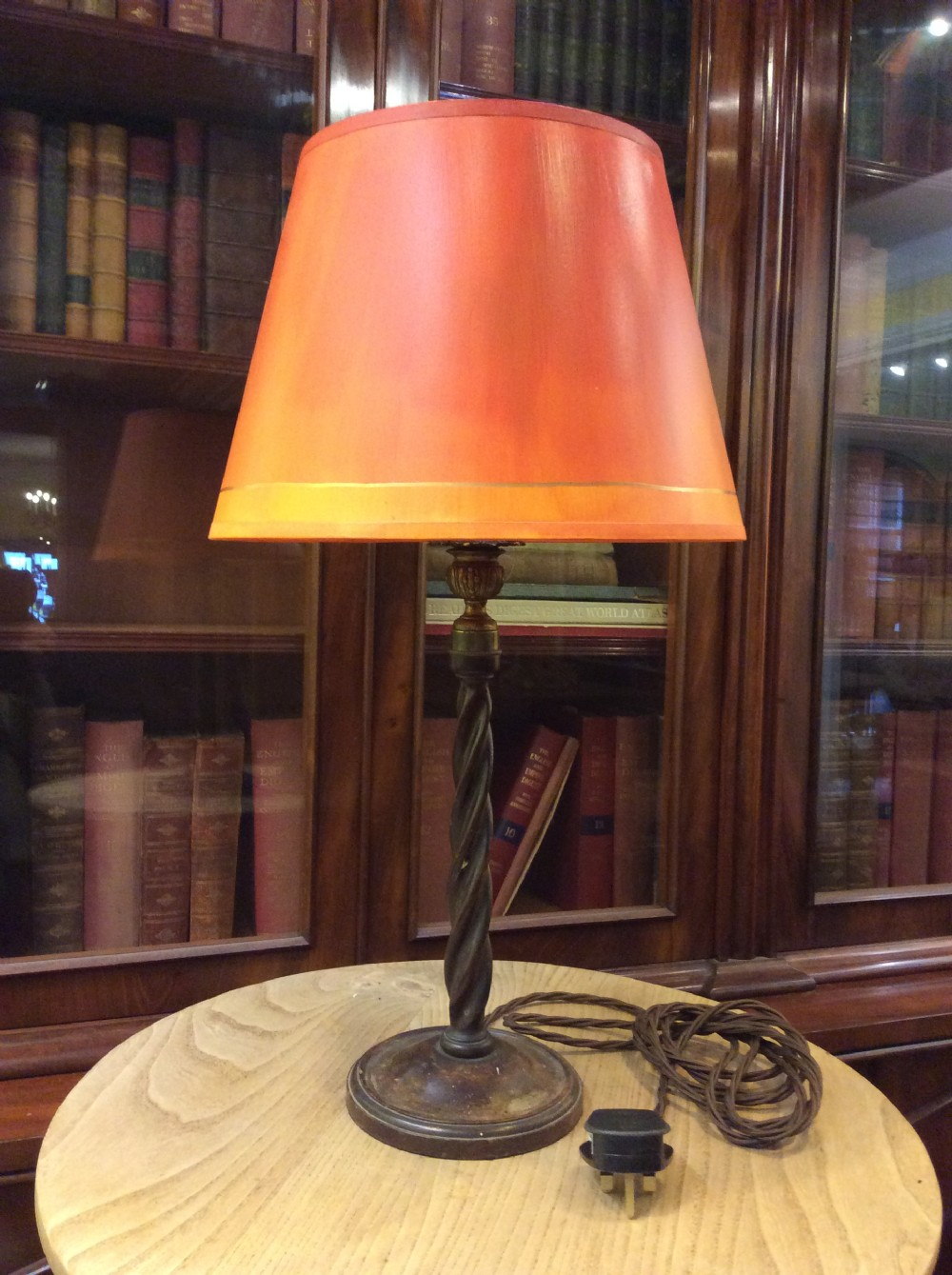 a 20thc mahogany table lamp