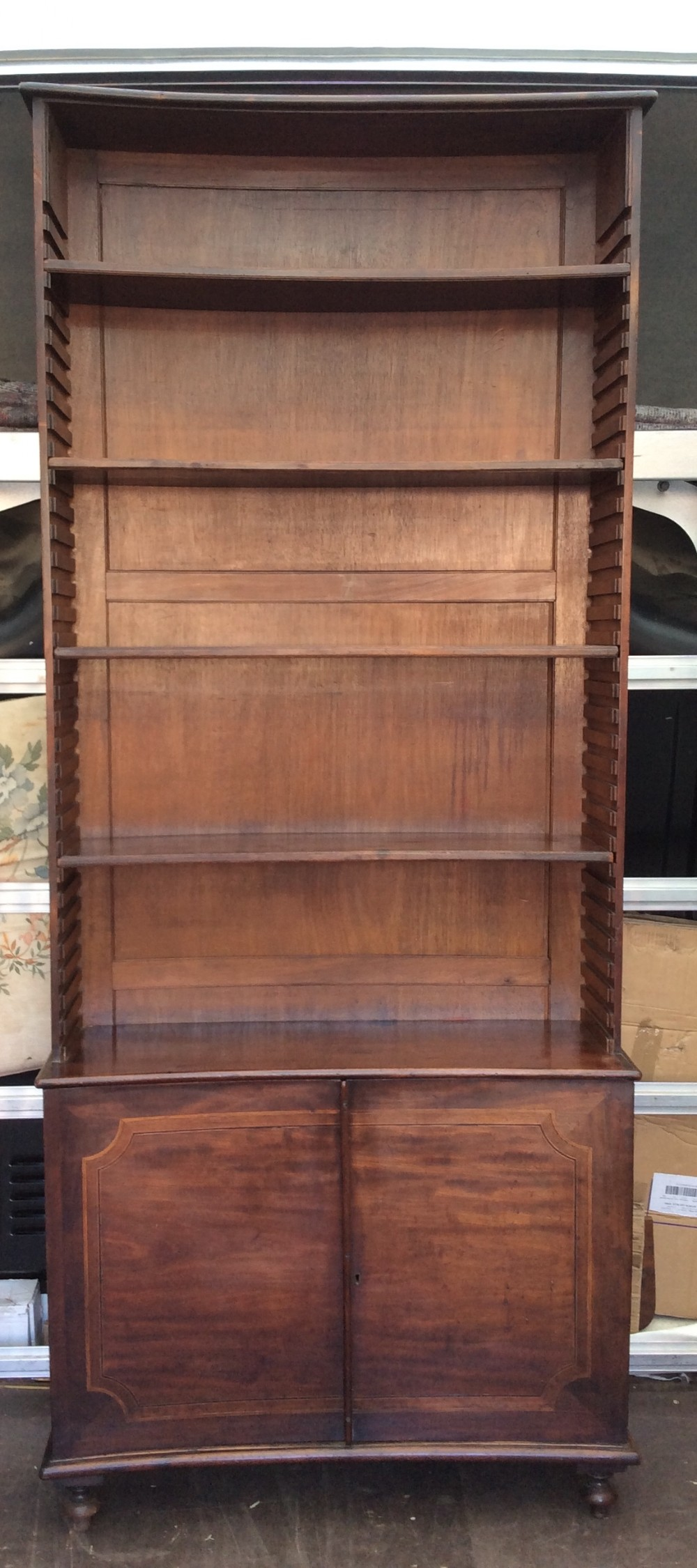 18thc concave mahogany bokcase with adjustable shelves