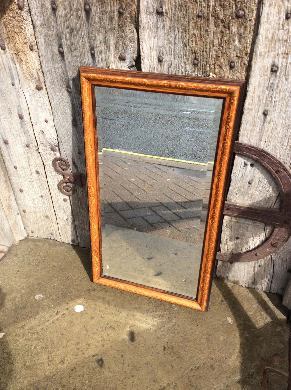 a very good quality rosewood and marquetry rectangular mirror
