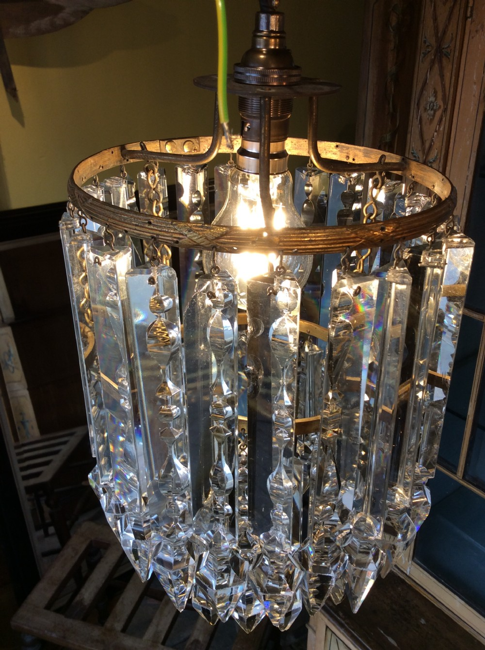 a 19thc led crystal and gilt chandelier