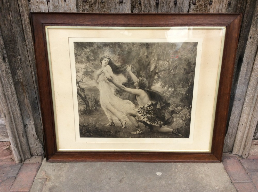 large oak frame with monochrome print