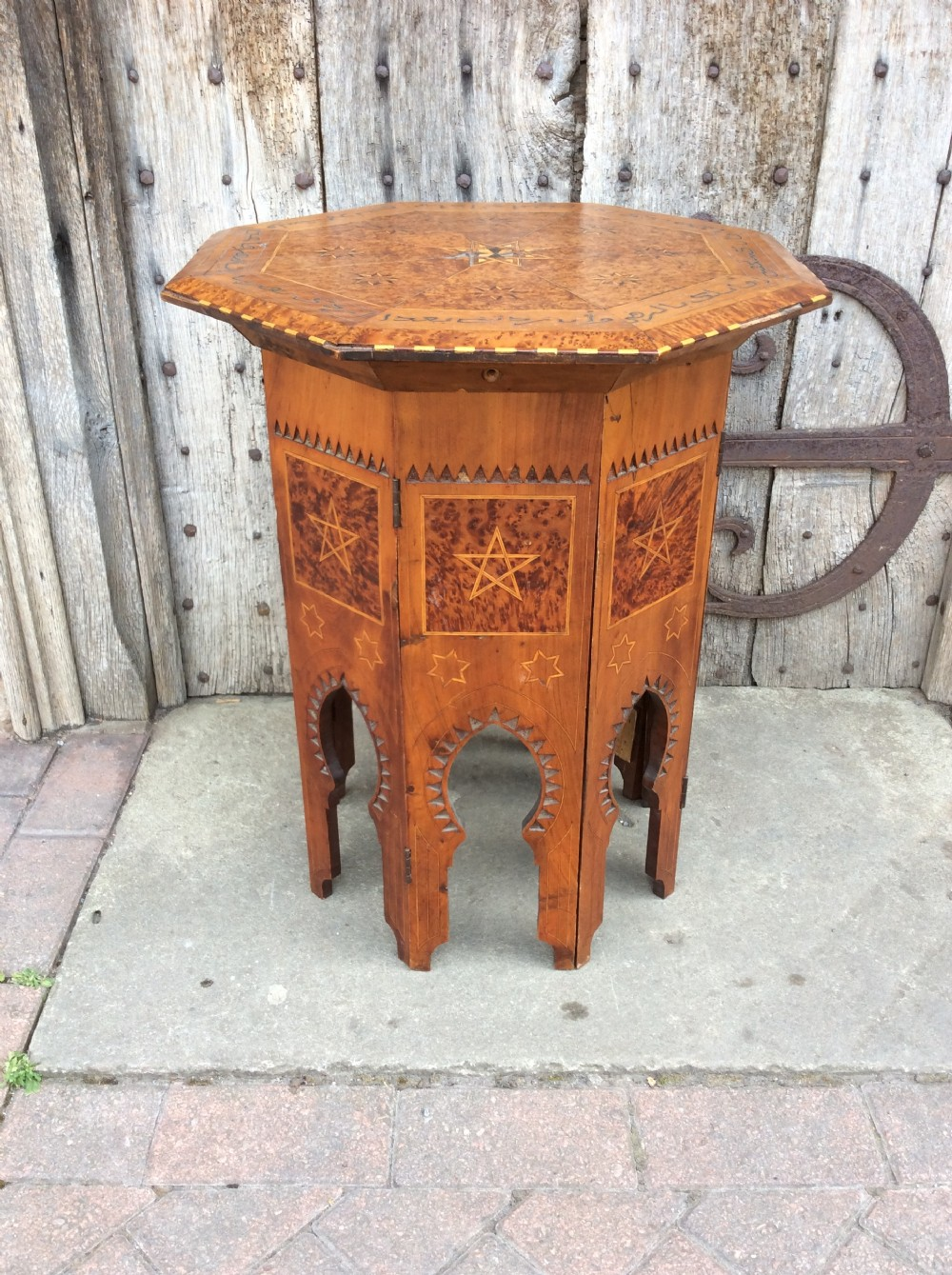 a 19thc thuya olive wood octagonal top moorish table