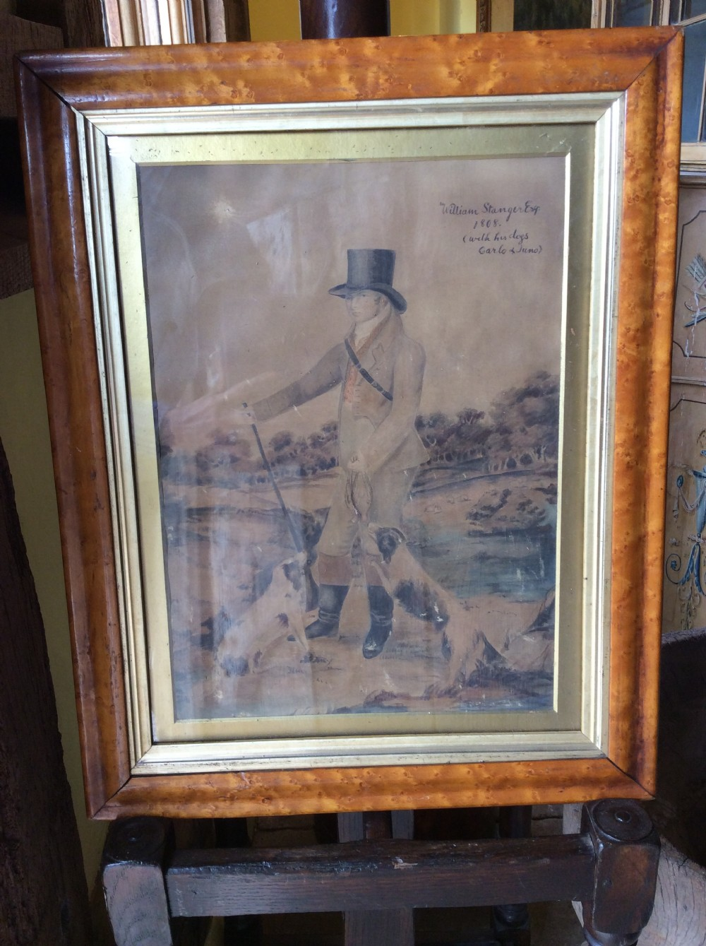 a 19thc picture in maple frame