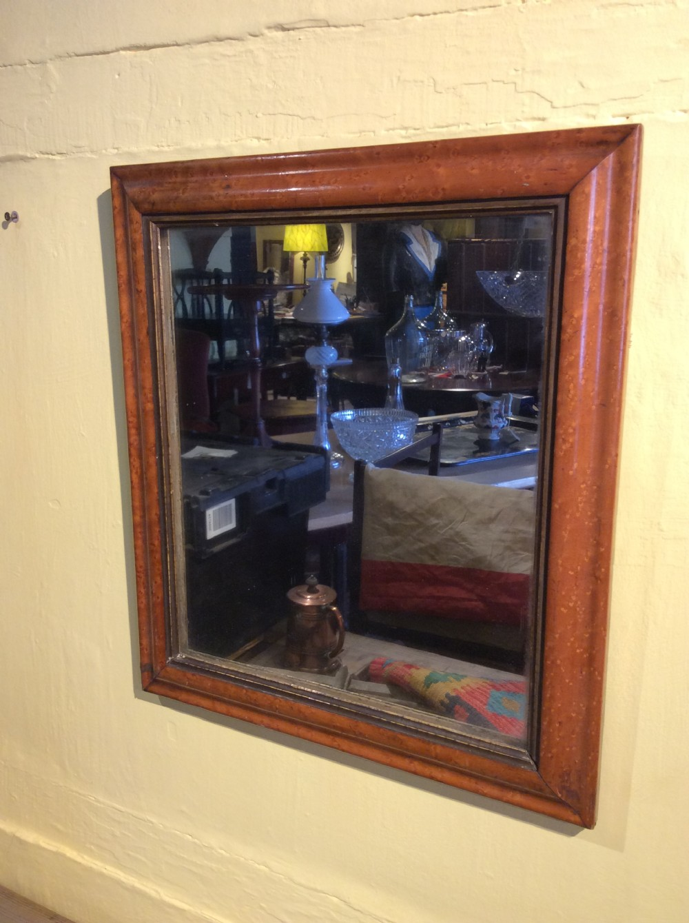 a 19thc maple framed mirror