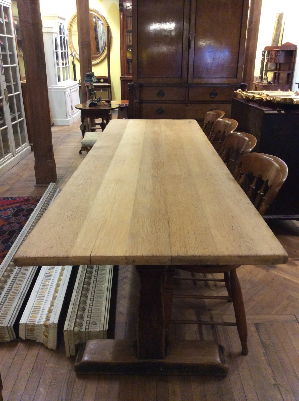an early 20thc 10 seater oak refectory table