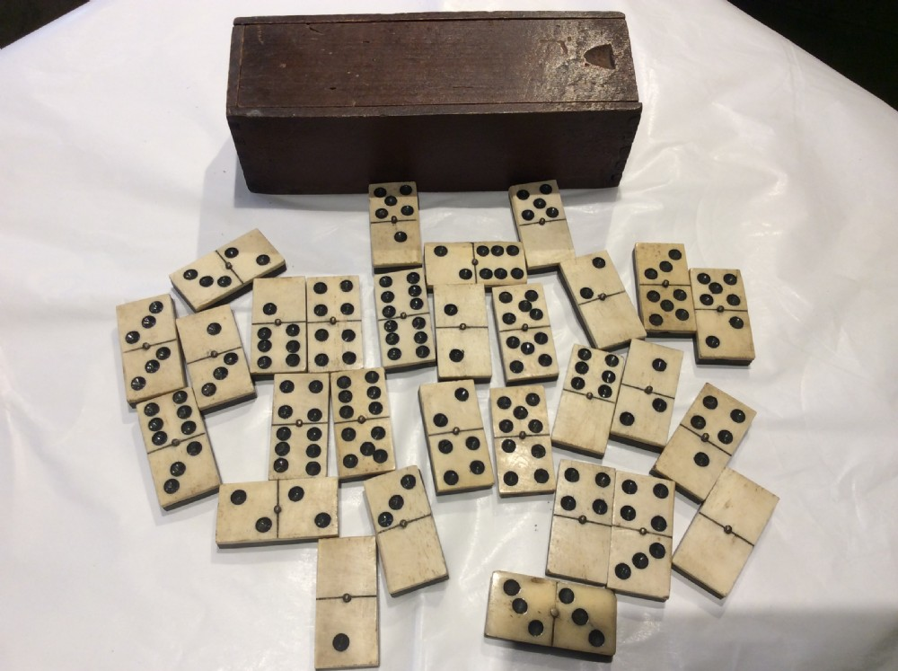 a 19thc boxed set of dominoes