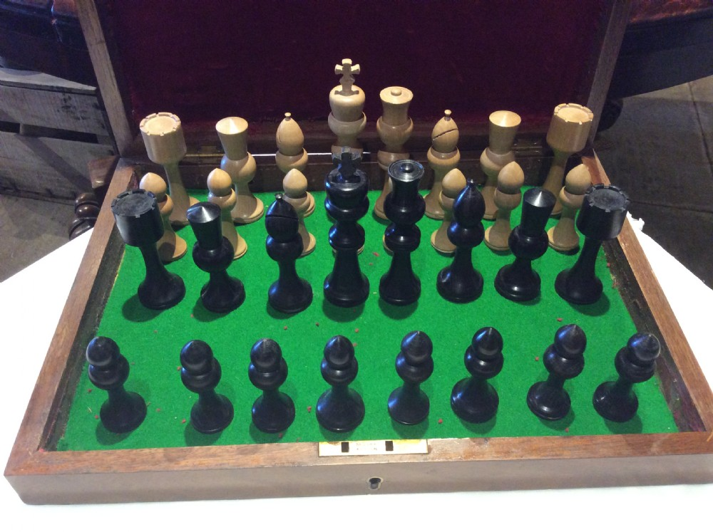 a 20thc beech ebony chess set c1970