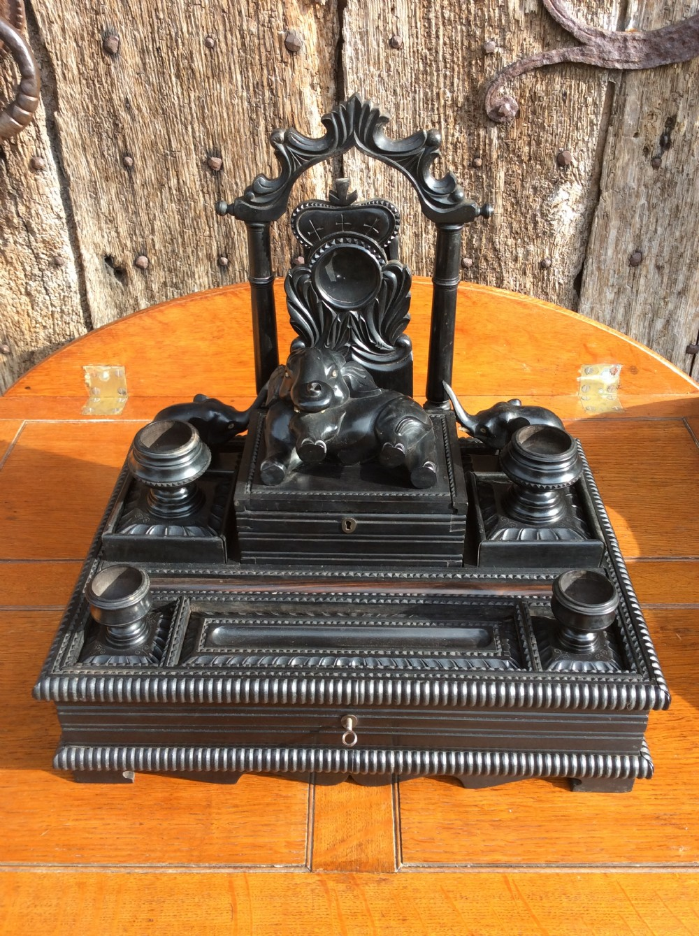 a 19thc anglo indian ebony dest top writing stand