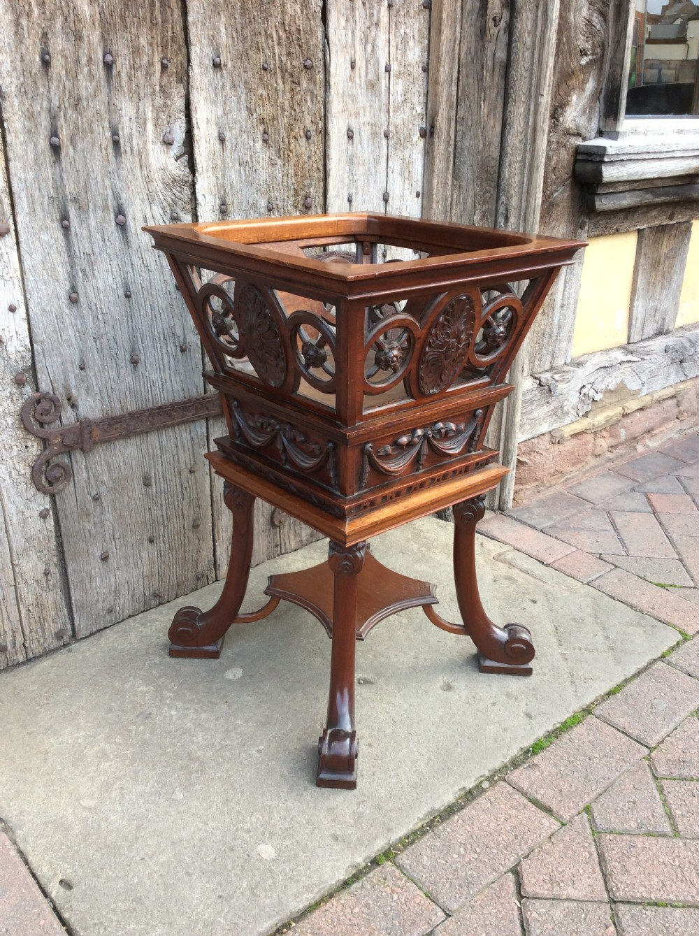 a 19thc mahogany carved wine coolerplanter