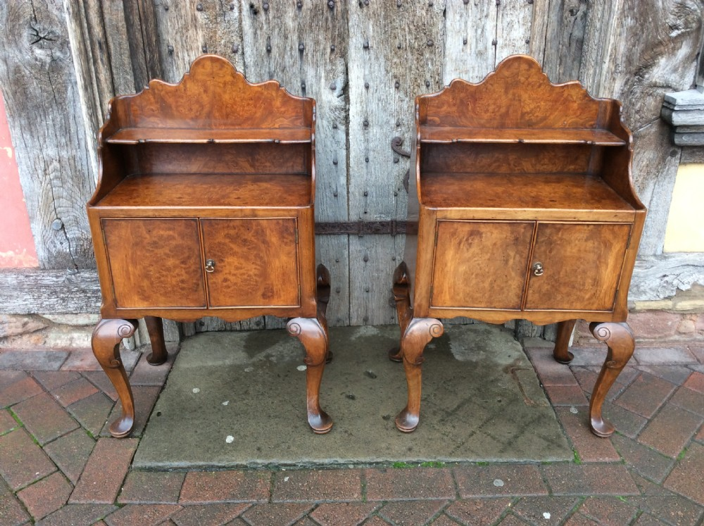 a pair of 1920s burr ash bedside cabinets