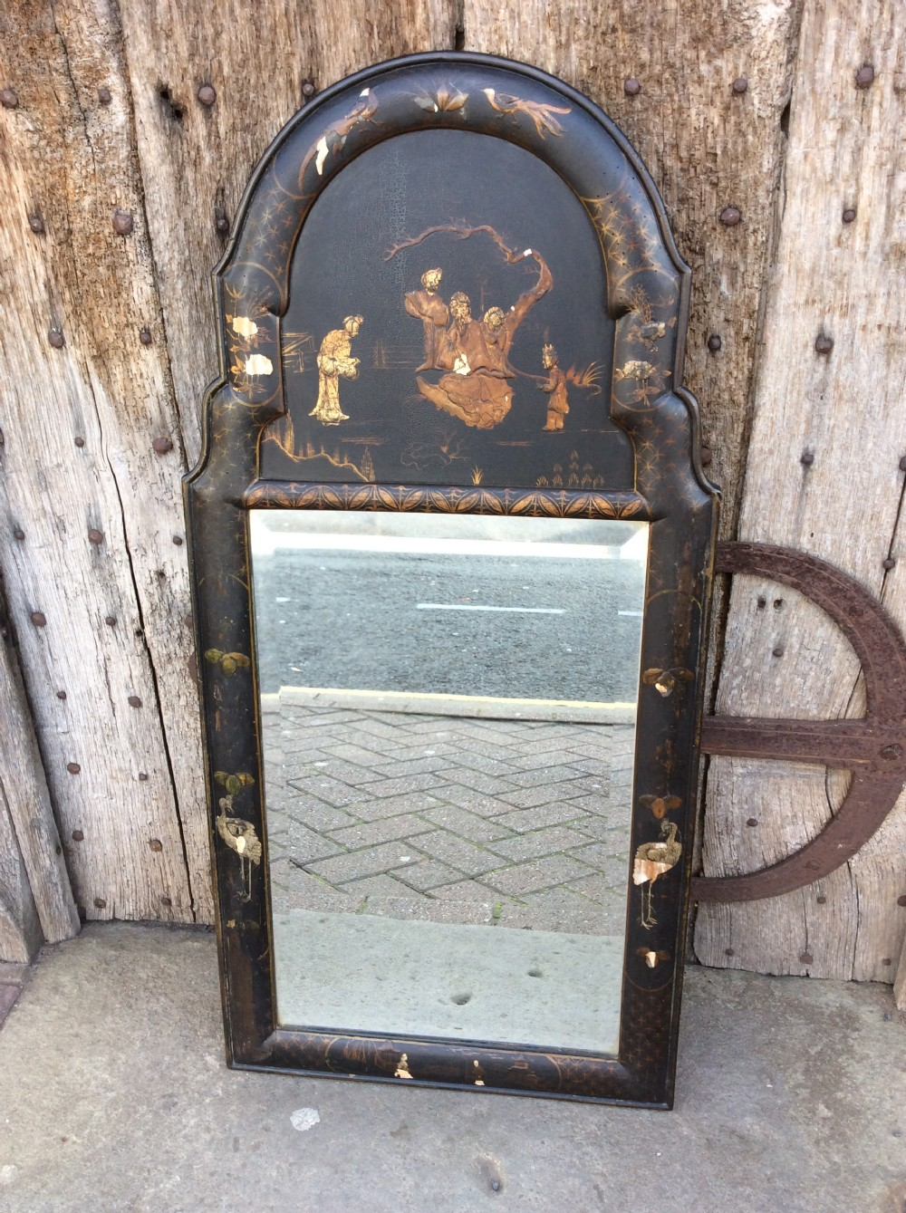 a 19thc chinoiserie lacquered mirror
