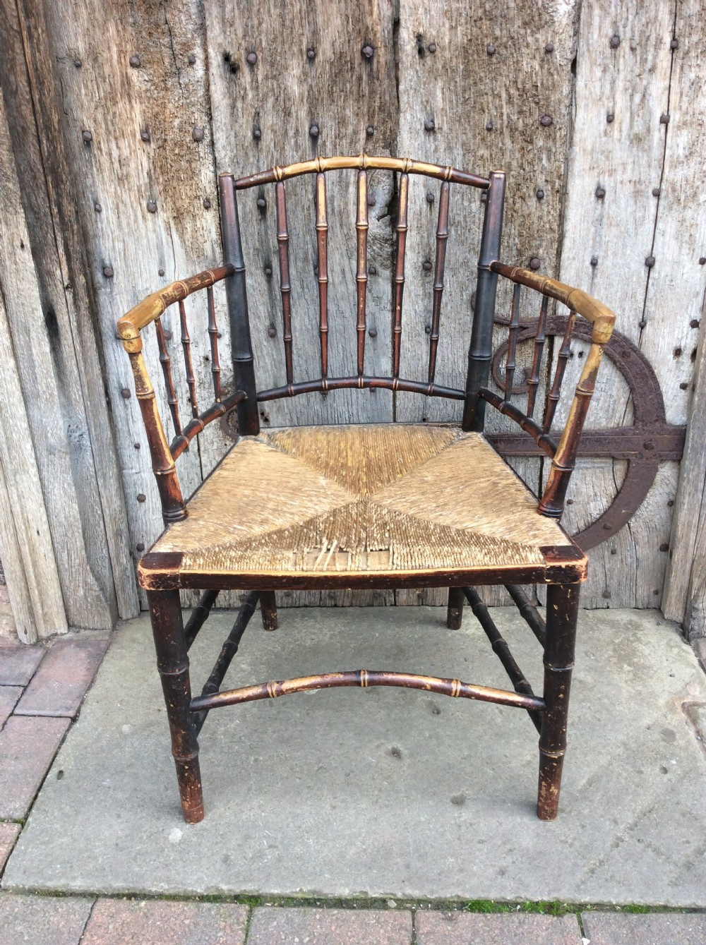 a 19thc faux bamboo rushed seat chair