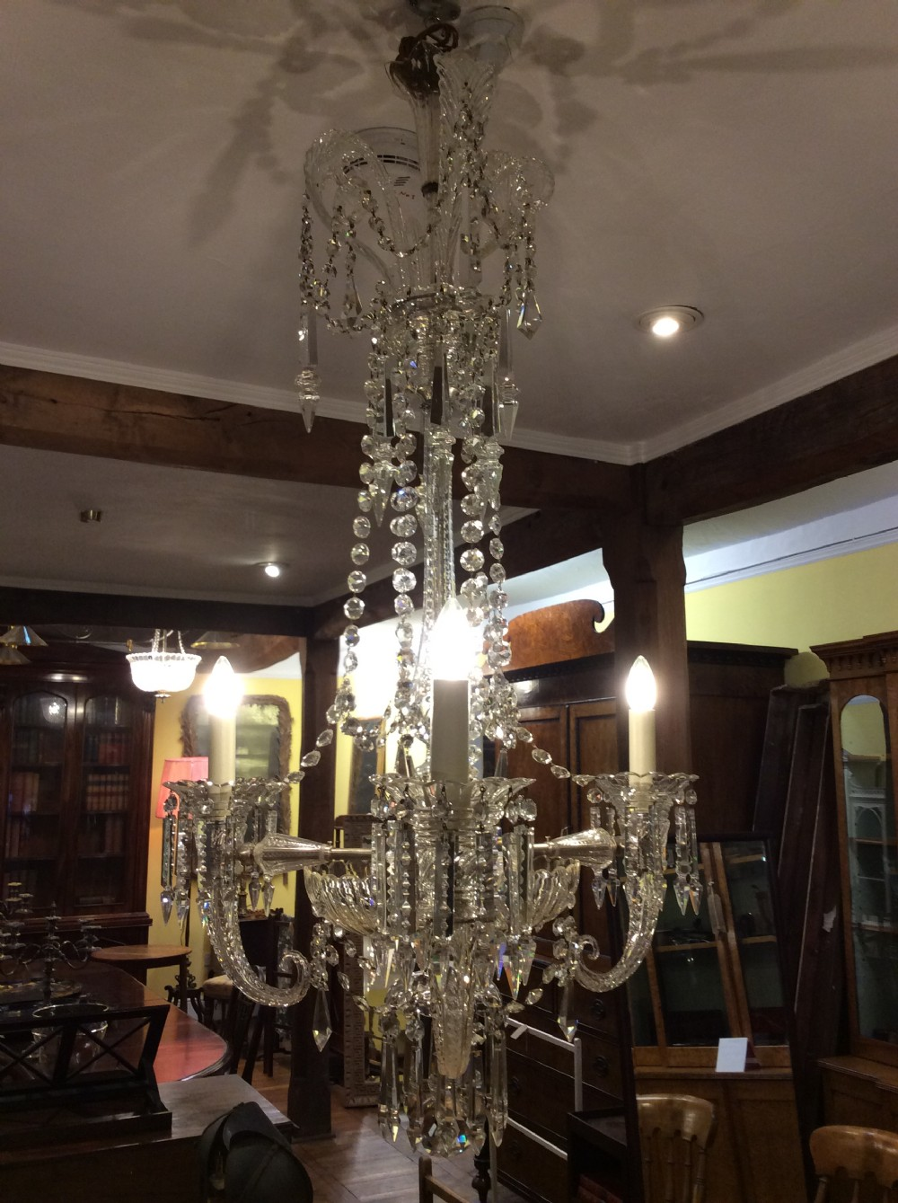 a 19thc three light cornucopia cut glass chandelier in the style of f c cosler