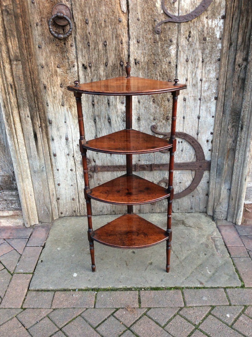 an early 19thc mahogany 4 tier corner whatnot