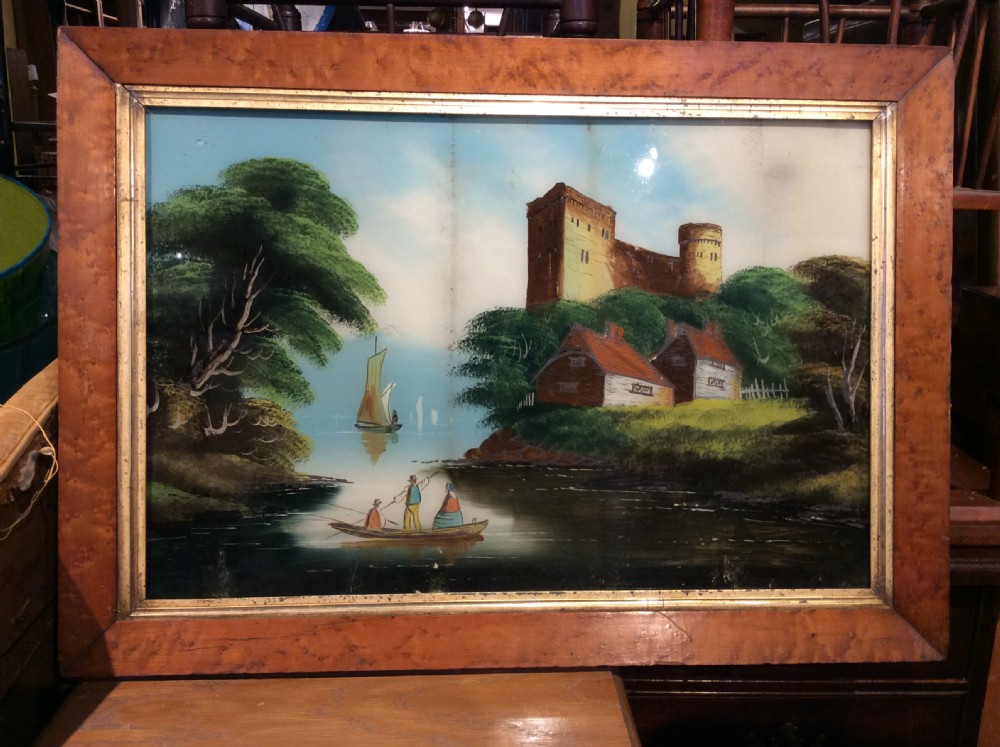 a 19thc painted scene on glass