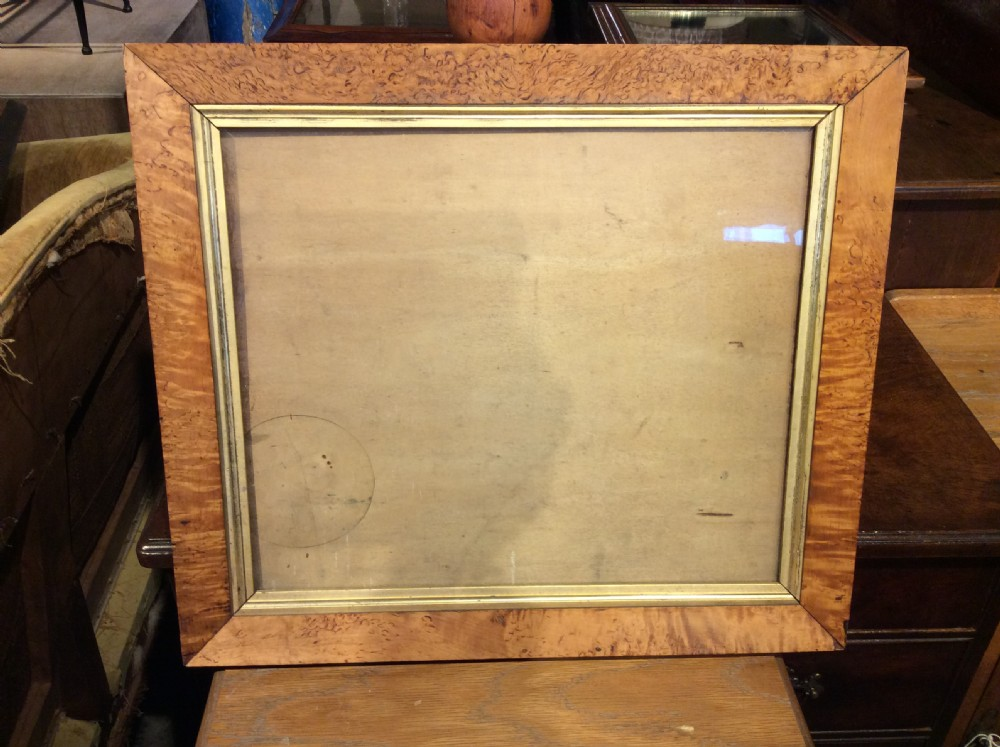 a 19thc satin birch picture frame with gilded insert
