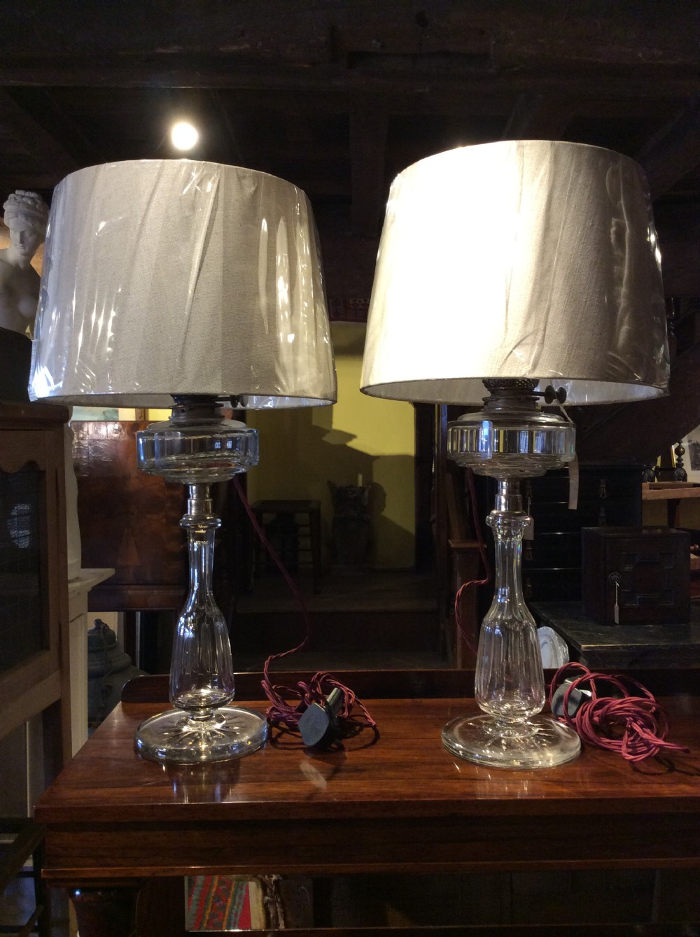a pair of 19thc cut glass plated silver table lamps