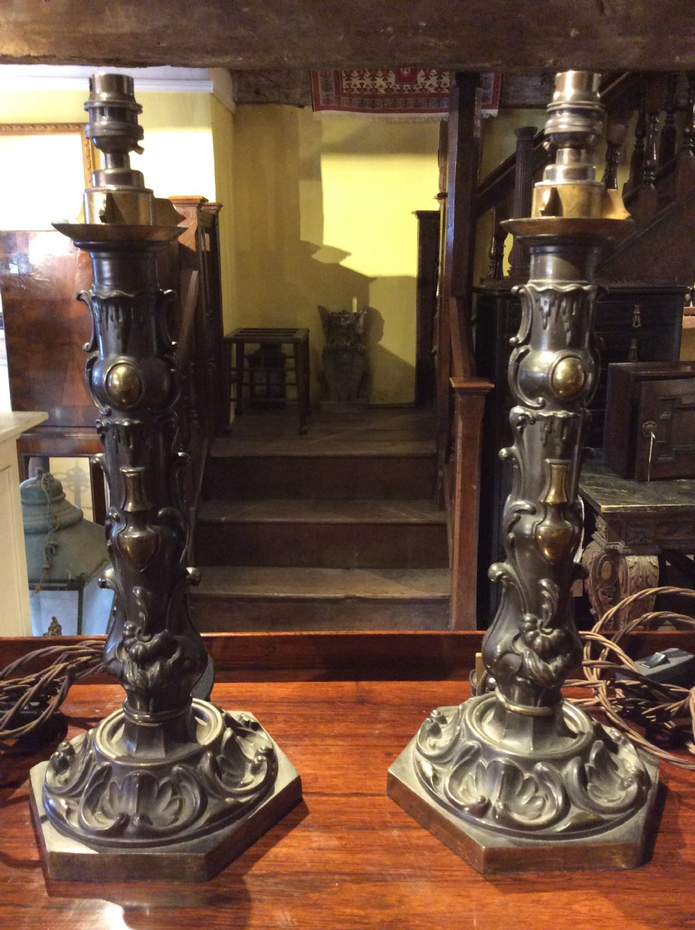 19thc pair of repouss brass lamps