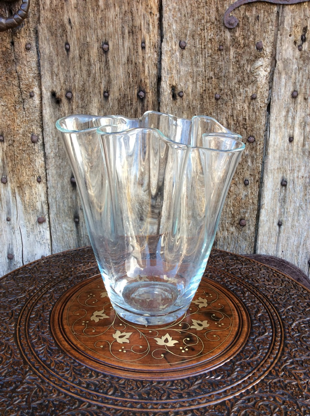 a mid 20thc scalloped edge clear glass vase