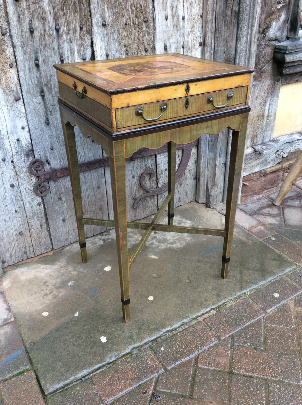 an 18thc decorated work table